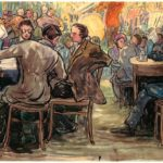 Cafe Scene 1934 scan sold by Grodecki at sothebys