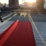 Red carpet between event and museum entrance